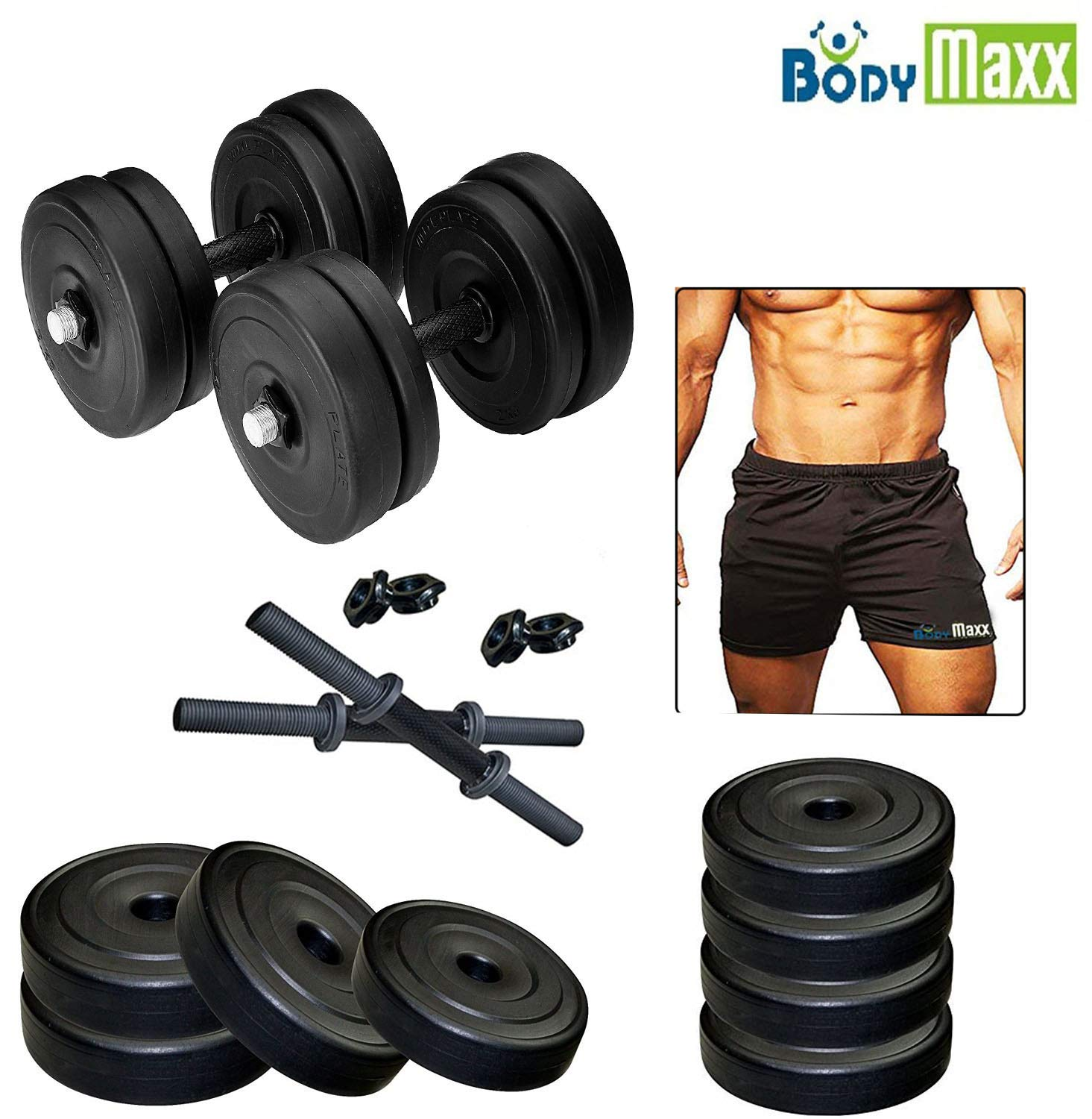 7eb491e3309 Buy Body Maxx Adjustable Dumbells Set with Gym Shorts 30 Kg Online at Low  Prices in India - Amazon.in
