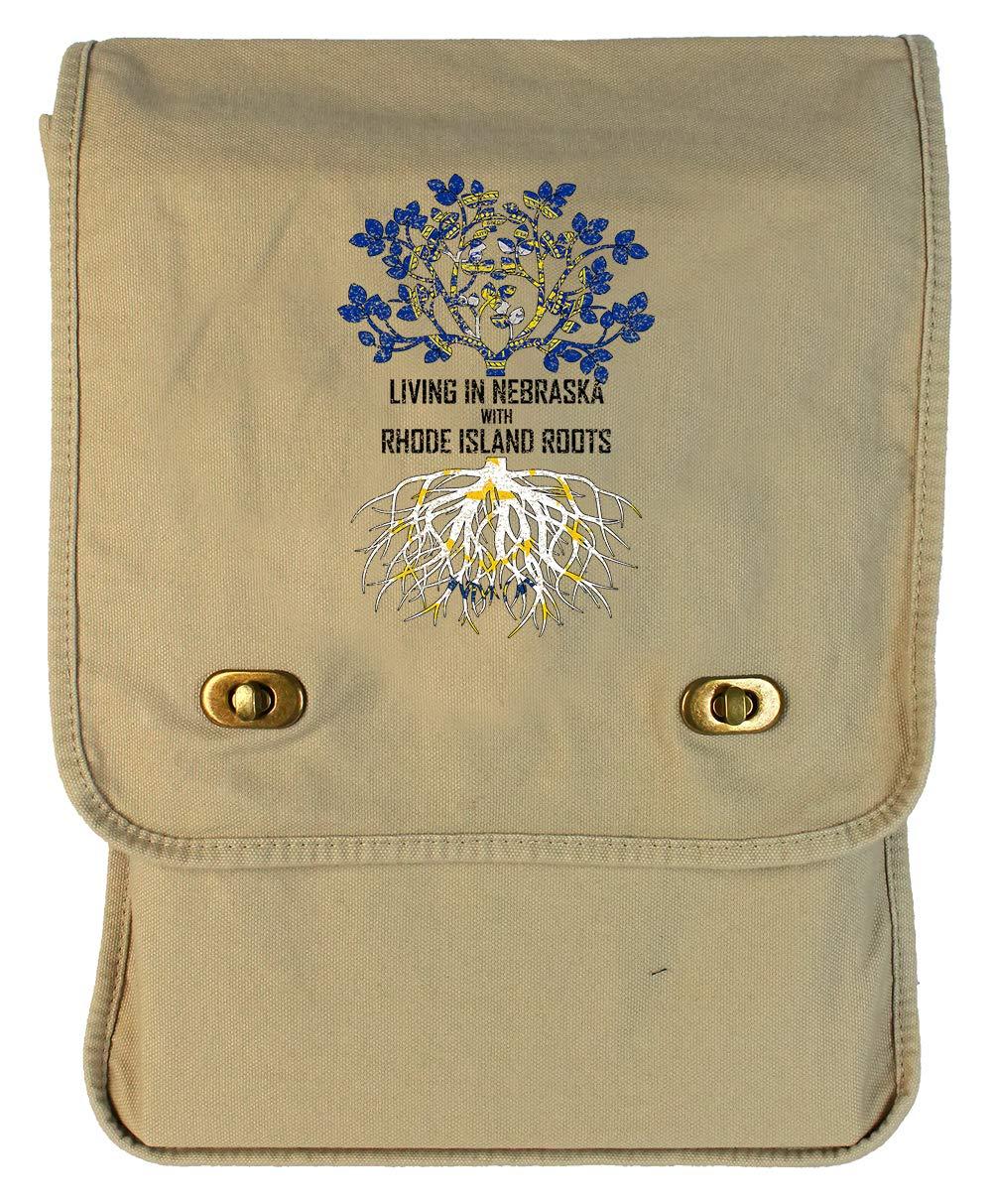Tenacitee Living In Nebraska with Rhode Island Roots Grey Brushed Canvas Messenger Bag