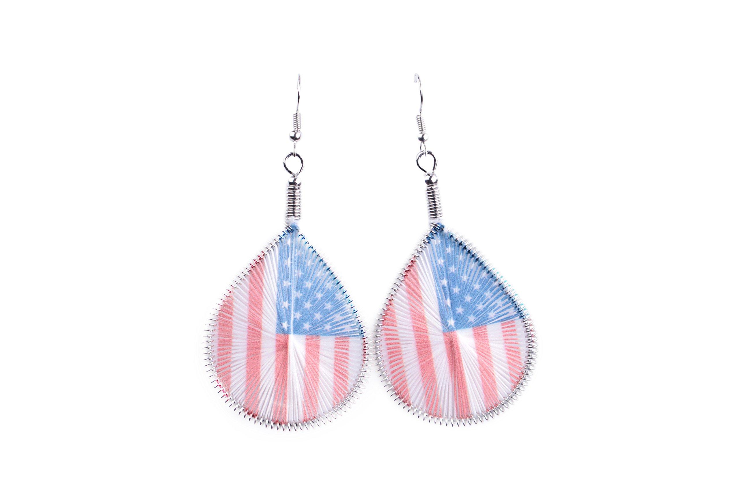 Luvalti Patriotic American USA Flag - Woven Thread Teardrop Earrings - Jewelry Gift
