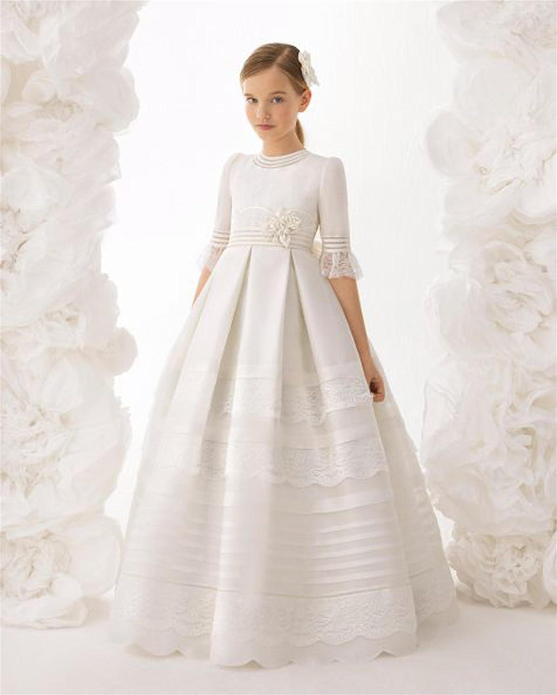 PROMNOVAS Girls Ball Gown Half Sleeves First Communion Flower Girl Dresses