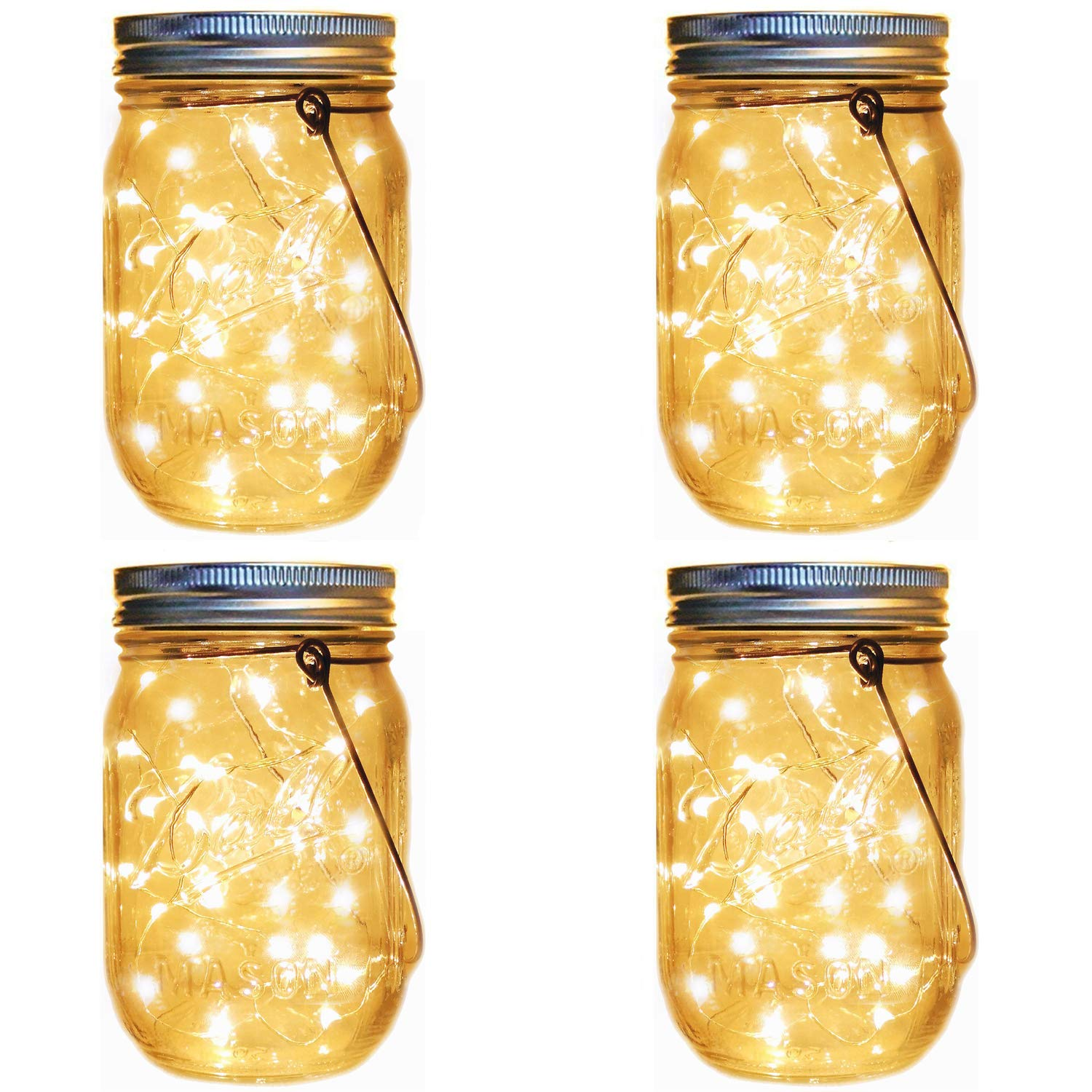 Solar Lanterns Mason Jar Hanging Lights,4 Pack 30 LED Lights String Fairy Firefly Starry Jar Lights (Mason Jars/Hangers Included),for Patio Garden Wedding Table Mason Jar Decor Solar Lantern Lights