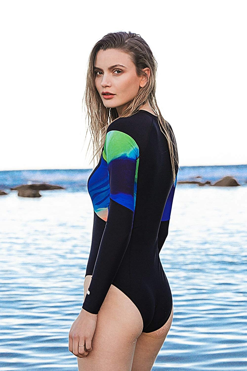 c5924f30d91 AXESEA Womens Long Sleeve Rash Guard UV UPF 50+ Sun Protection Printed  Zipper Surfing One Piece Swimsuit Bathing Suit at Amazon Women's Clothing  store:
