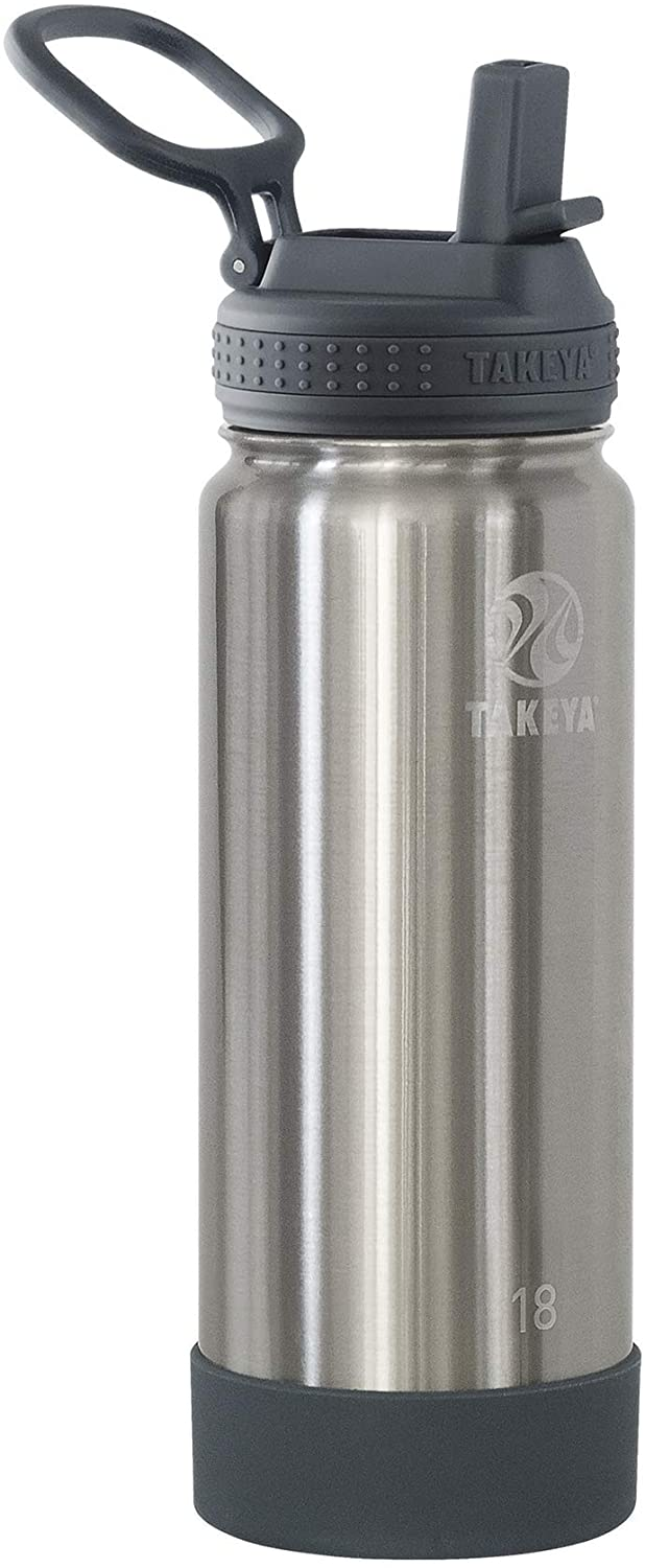 Takeya Actives Insulated Water Bottle w/Straw Lid, Stainless Steel, 18 Ounce