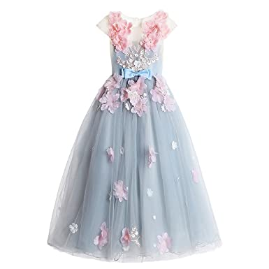 07c8307177b Amazon.com  Mejorme Girls Flower Fairy Princess Party Dresses Grey Ball  Gown Flower Wedding Dress  Clothing