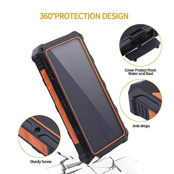 Amazon.com: Benfiss - Cargador solar portátil con batería ...
