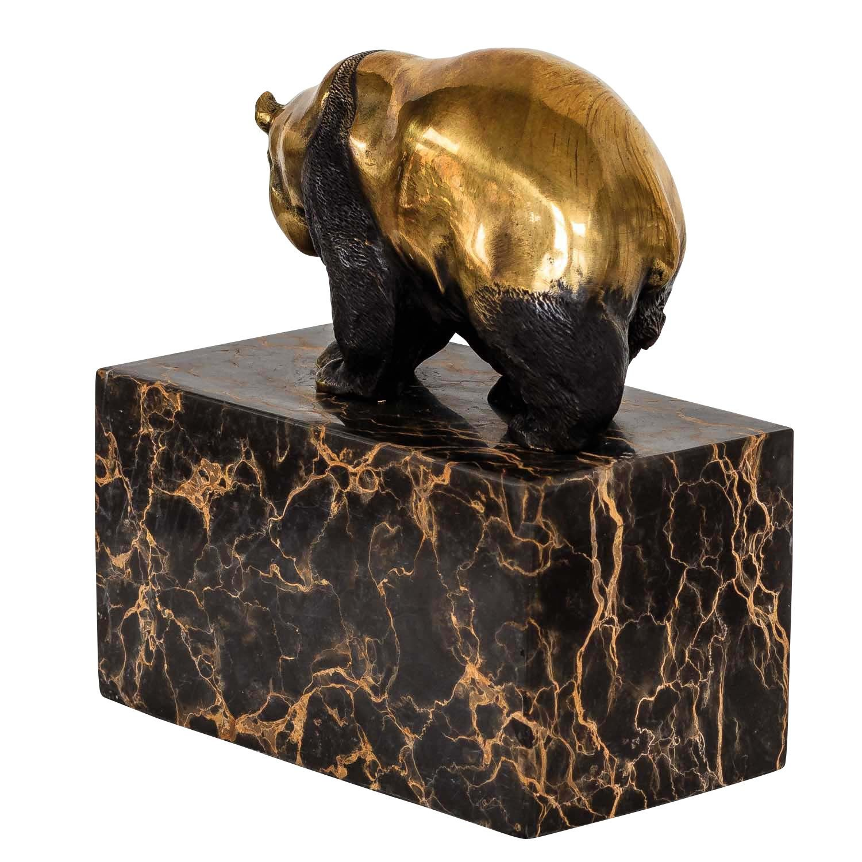 La Escultura Panda de Bronce Figura Estilo Antiguo 15cm
