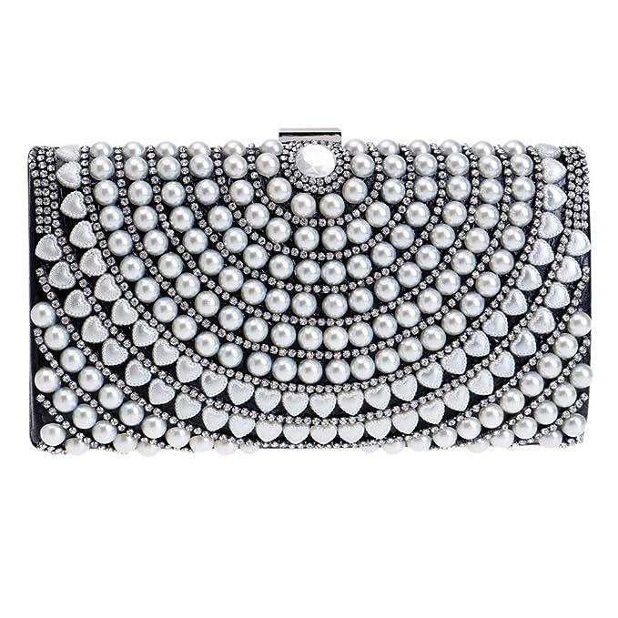 GODW Mujer Clutch Perla Diamante Bolso De Embrague Bolso De Noche Boda Monedero Fiesta Baile Bolsos,Black-OneSize: Amazon.es: Ropa y accesorios