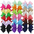 "QingHan 3.5"" Solid Grosgrain Ribbon Pinwheel Boutique Hair Bows Alligator Clips for Baby Girls Kids Teens Toddlers Children 20 colors"