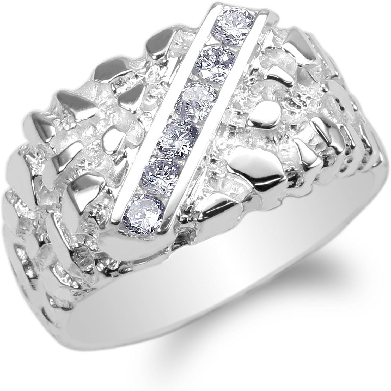 JamesJenny Mens 10K14K White Gold Round CZ Horseshoe Shaped Band Ring Size 7-12