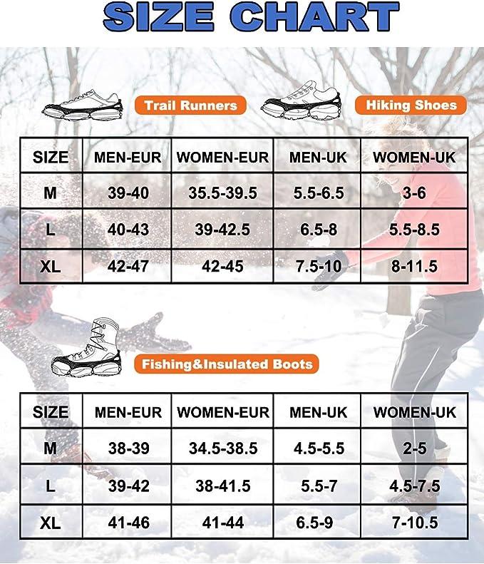 19 Dientes de Acero Inoxidable de Crampones Antideslizante Raquetas de Nieve,al Aire Libre de Esqui de Senderismo en Tipos Variedad de Terreno - by ...