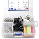 342 Pcs Small Office Supplies Kit with Storage Container, Metal Binder Clips Medium/Small, Paper Clips, Assorted Rubber…