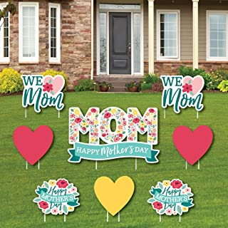 product image for Big Dot of Happiness Colorful Floral Happy Mother's Day - Yard Sign and Outdoor Lawn Decorations - We Love Mom Party Yard Signs - Set of 8