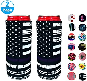 2pcs Neoprene Slim Beer Can Cooler Tall Stubby Holder Foldable Stubby Holders Beer Cooler Bags Fits 12oz Slim Energy Drink & Beer (Flag 2)
