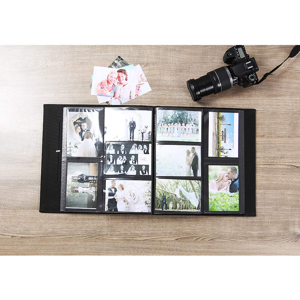 Photo Album for 600 4x6 Photos Leather Cover Extra Large Capacity for Family Wedding Anniversary Baby Vacation (Black) by Vienrose (Image #3)