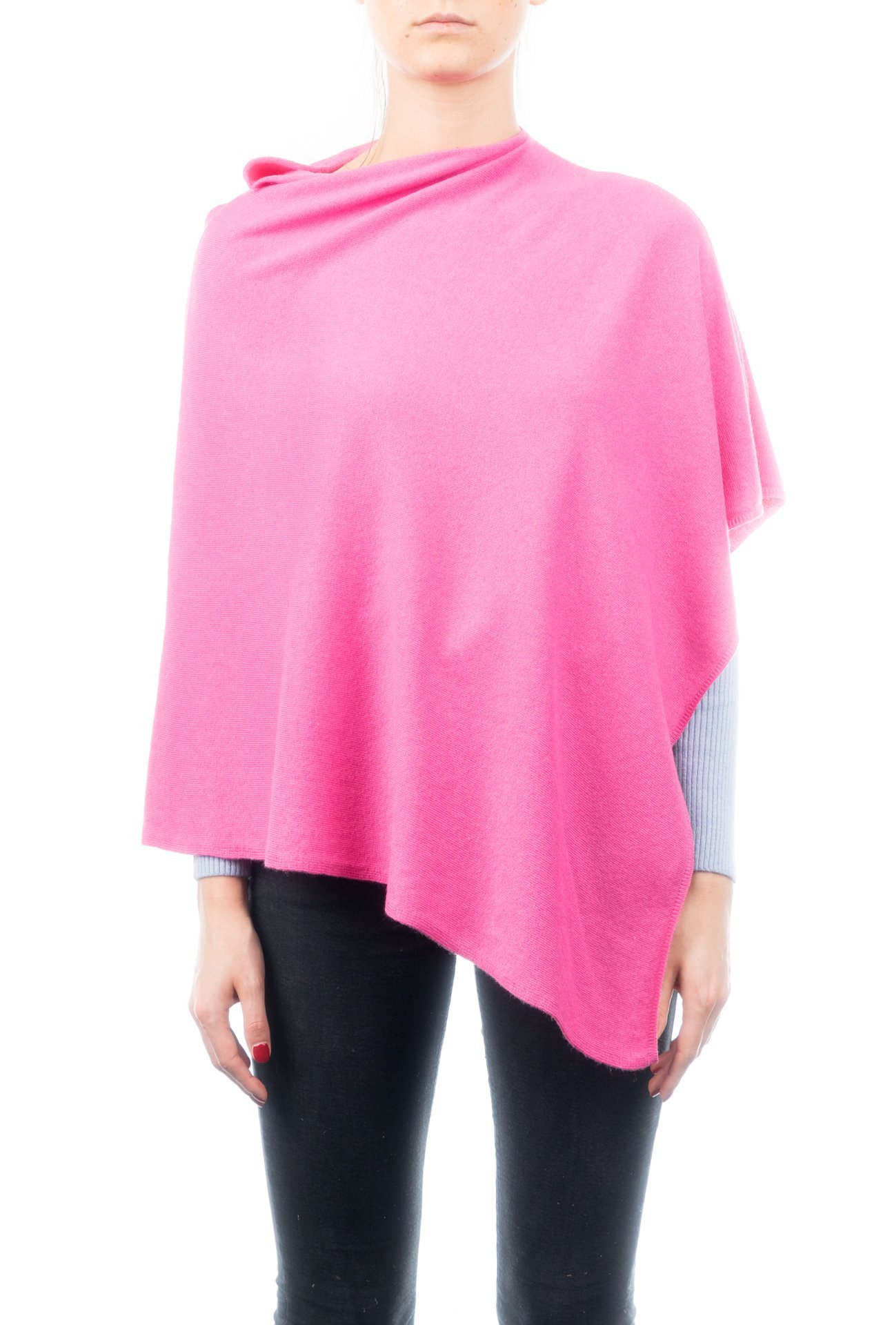 DALLE PIANE CASHMERE - Poncho Cashmere Blend - Made in Italy, Color: Fuxia, One Size