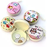 ShopNgift (Pack of 3) Cute OWL Metal Tin Case Pouch For Earphone, Coins, Memory Card, Pendrive & Jewllery Pouch Case (Random Prints)