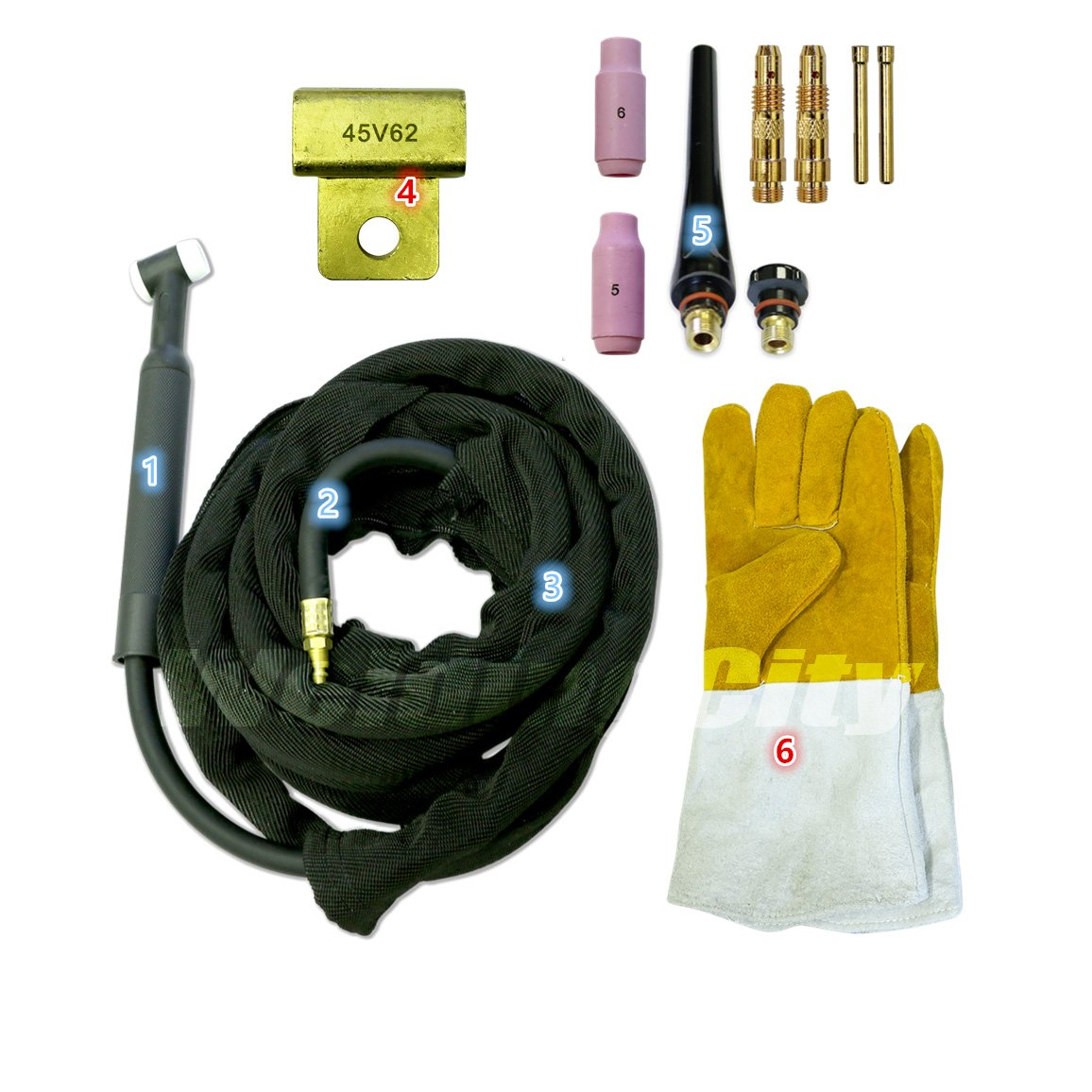 WeldingCity WP-26FV-25R Complete Ready-to-Go Package Flex-Head Gas-Valve 25 200Amp Air-Cooled TIG Welding Torch