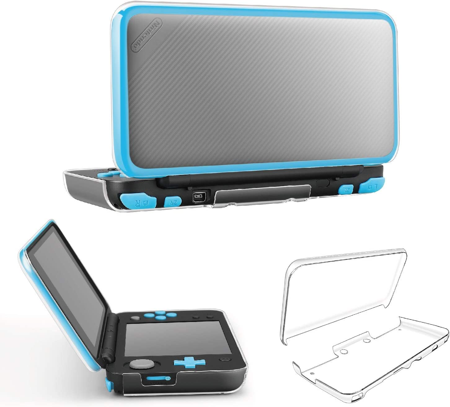 TNP New Nintendo 2DS XL LL Case - Crystal Transparent Hard Shell Protective Case Cover Skin Ultra Clear Anti-Scratch Accessory for New 2017 Nintendo 2DS XL LL