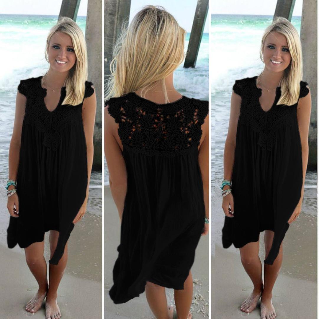 DAYLIN 1PC Womens Large Size Ladies Casual Sleeveless Party Chiffon Loose Summer Beach Lace Dress: Amazon.co.uk: Clothing