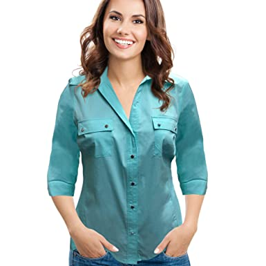 4c760e98fad4b Rib Knit to Fit Grommet Woven 3 4 Sleeve Button Down Casual Tops by Zac