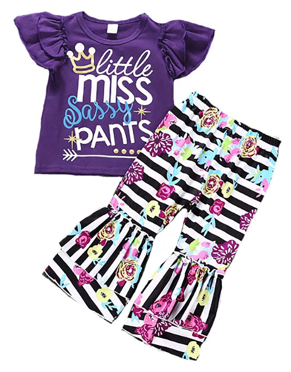 Baby Girls Little Miss Sassy Pants Print Shirt Tops Floral Bell-Bottoms Pants Outfits Size 4-5 Years/Tag120 (Purple)