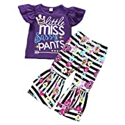 Baby Girls Little Miss Sassy Pants Print Shirt Tops Floral Bell-Bottoms Pants Outfits Size 6-12 Months/Tag80 (Purple)