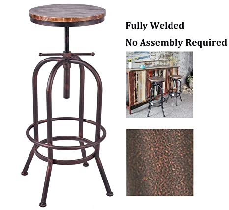 LOKKHAN Industrial Bar Stool-Adjustable Swivel Round Wood Metal Bar  Stool-28-34 Inch Extra Tall Bar Height Stool-Rustic Farmhouse Kitchen  Stool(Fully ...