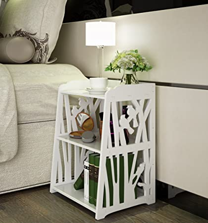 Amazon.com: Mybestfurn Small Plastic-Wood White Bed End Table ...