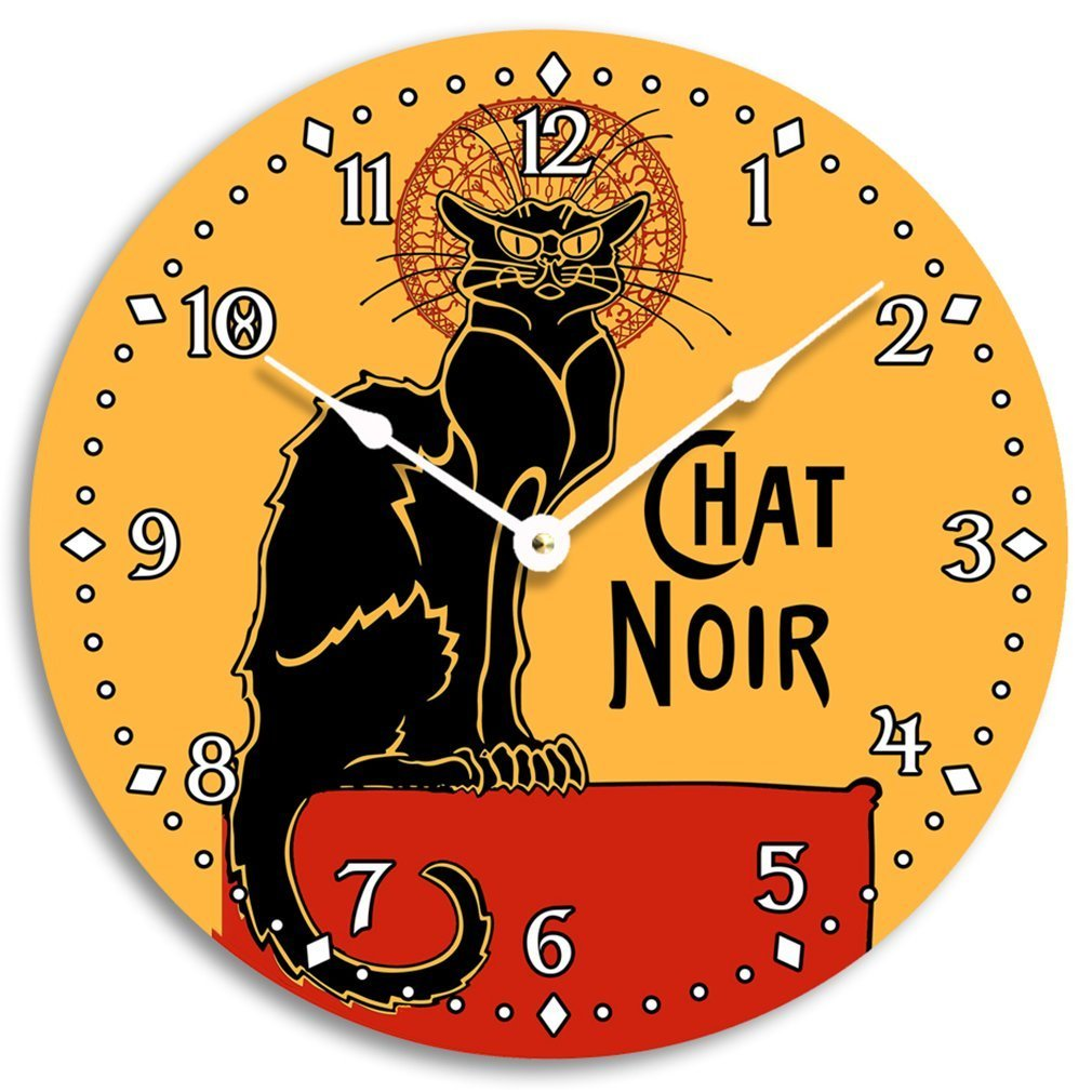 Vintage French black cat wall clock