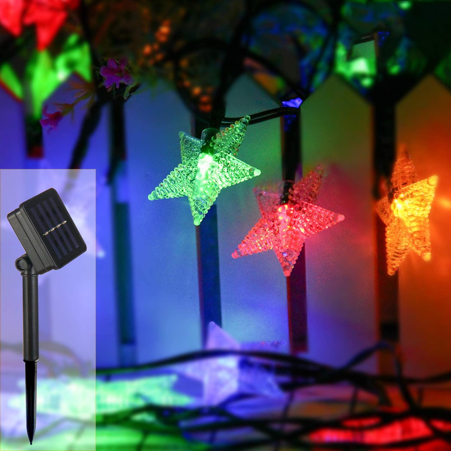 Waterproof Outdoor Solar Lights for Home//Yard//Patio//Garden ZOUTOG Solar Star Lights 40ft//12m 80 LED Colorful Star String Lights