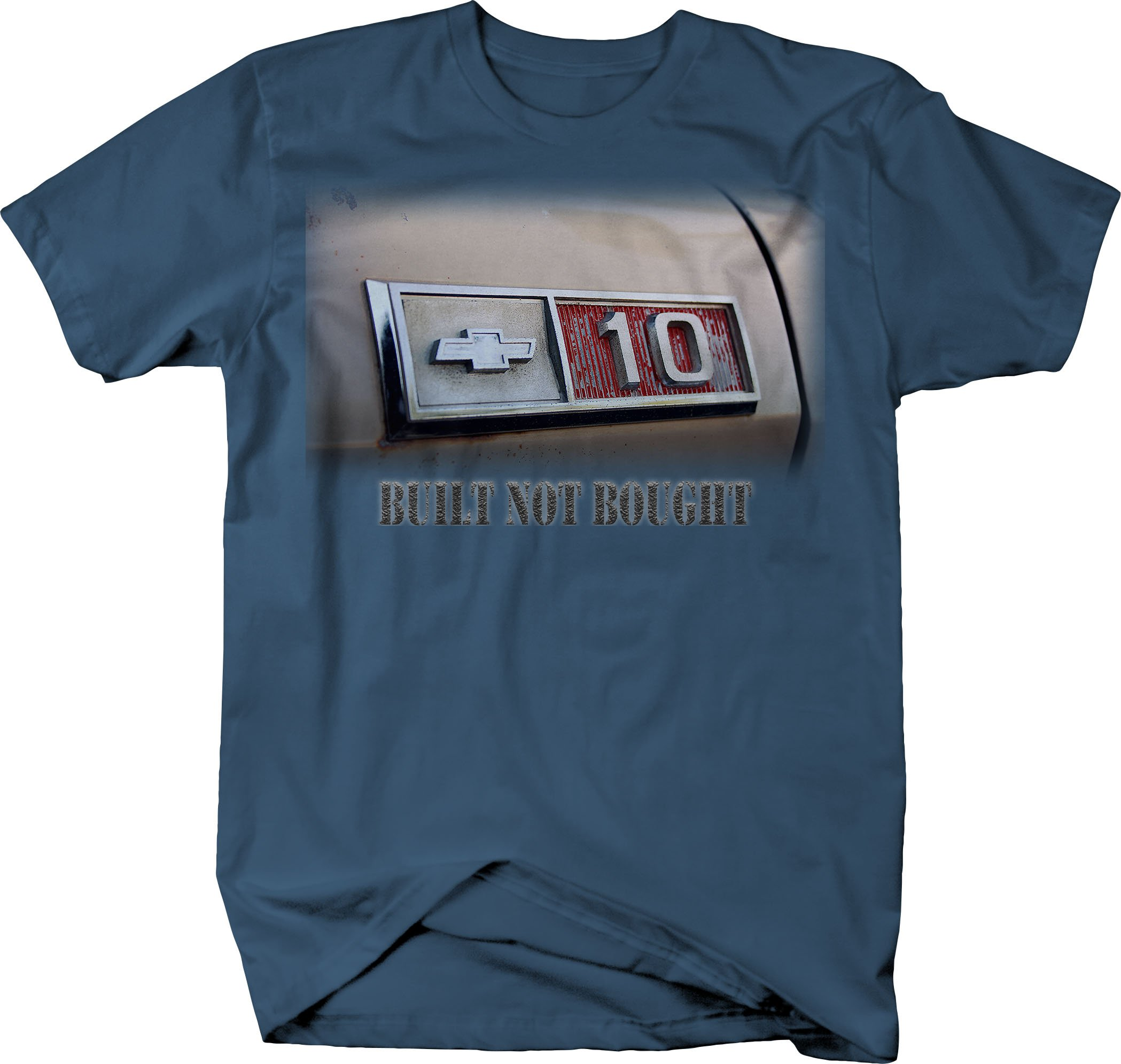 OS Gear Chevy C10 Built Not Bought Vintage 1970's Truck Tshirt - Large by OS Gear