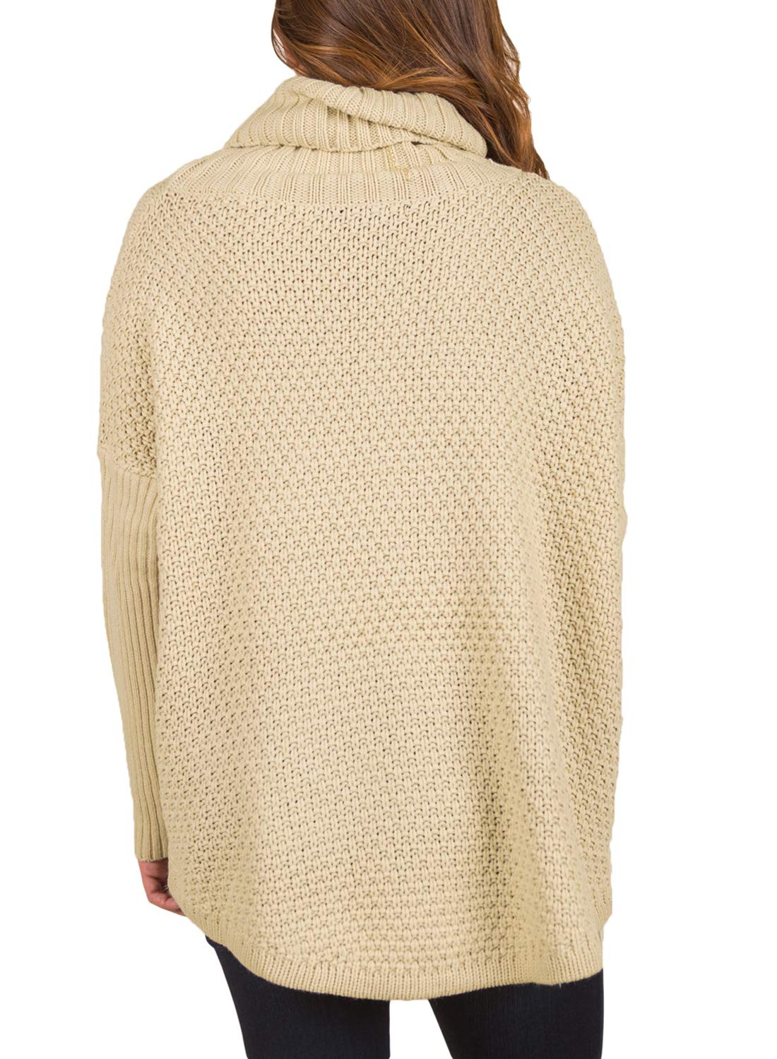 ACKKIA Women's Casual Turtleneck Batwing Long Sleeve Rib Knit Pullover Sweater Champagne Size M by ACKKIA (Image #2)
