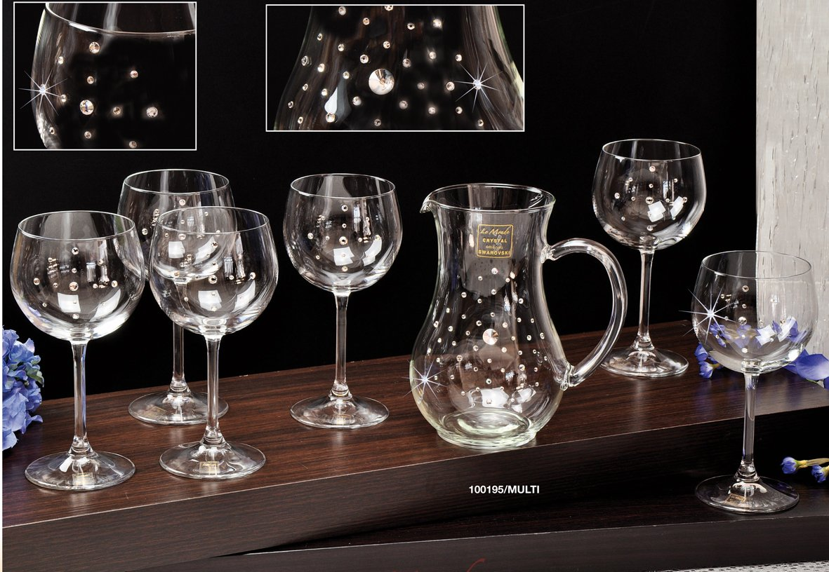 Le Monde Cadeaux, Swarovski Jeweled Crystal Wine Glasses on a Long Stem and Decanter Set, Classic Elegant Red White Wine Goblets and Carafe Inlaid with Crystals, 1+6-Piece Set