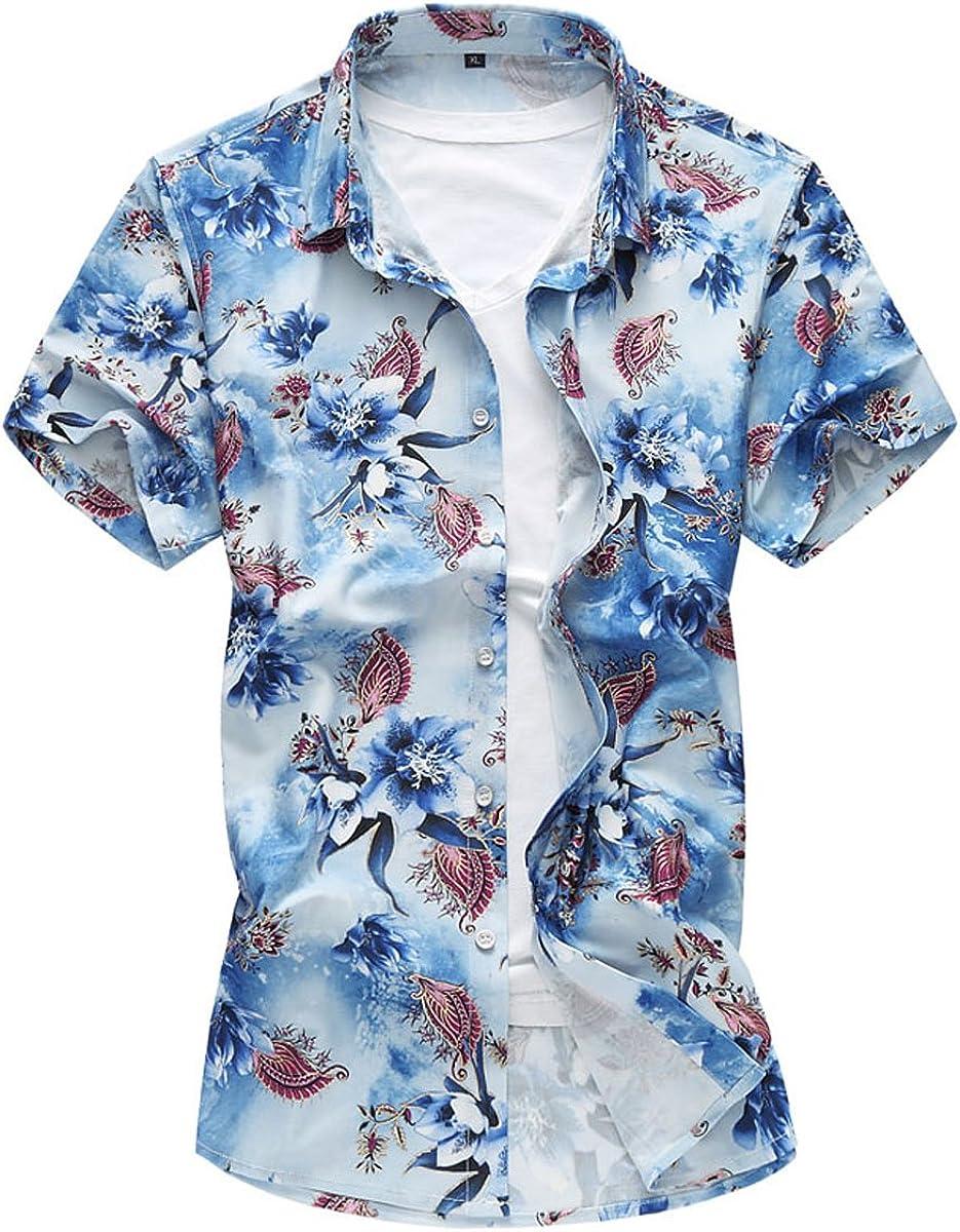 Camisa de Hombre Casual Floral Camisas Hawaianas Moda Verano Tops ...