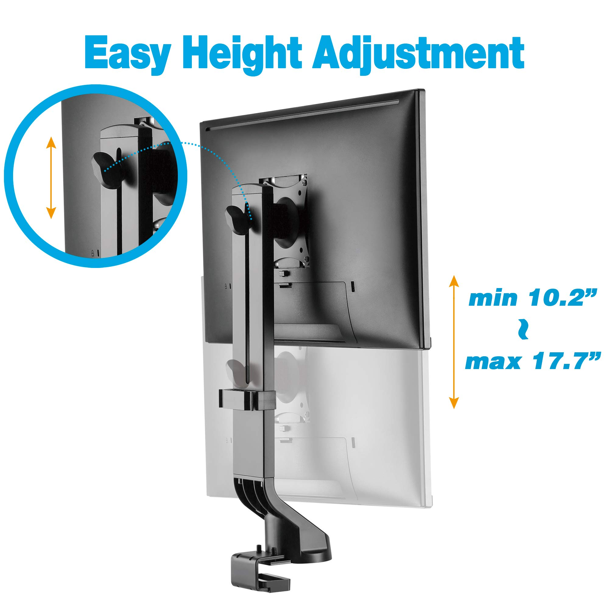 AVLT-Power Single Monitor Mount for Standing Desk Workstation - Extra Height Adjustment Range - Heavy Duty - Holds 17'' to 32'' Screens, up to 17.6 lbs, VESA 75x75mm 100x100mm by AVLT-Power (Image #2)