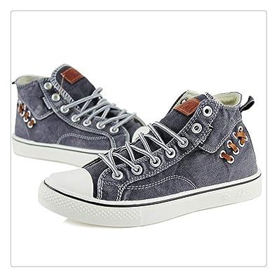 Amazon.com   Dmoshibei New Couples High top Denim Fabric Canvas Shoes Sneakers Women Flat Leisure Shoes Tenis Feminino Casual Size 35-44 Zapatos Mujer ...