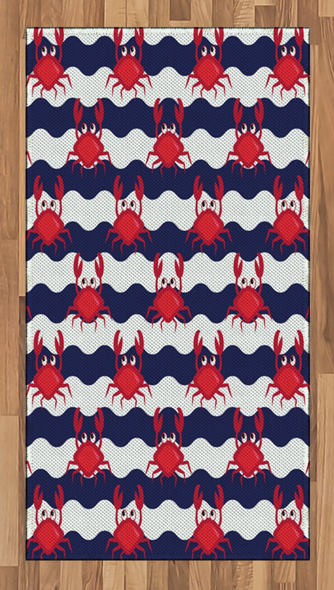 Ambesonne Crabs Area Rug, Nautical Maritime Theme Cute Crabs on Striped Background Illustration Print, Flat Woven Accent Rug for Living Room Bedroom Dining Room, 2.6 x 5 FT, Red and Navy Blue