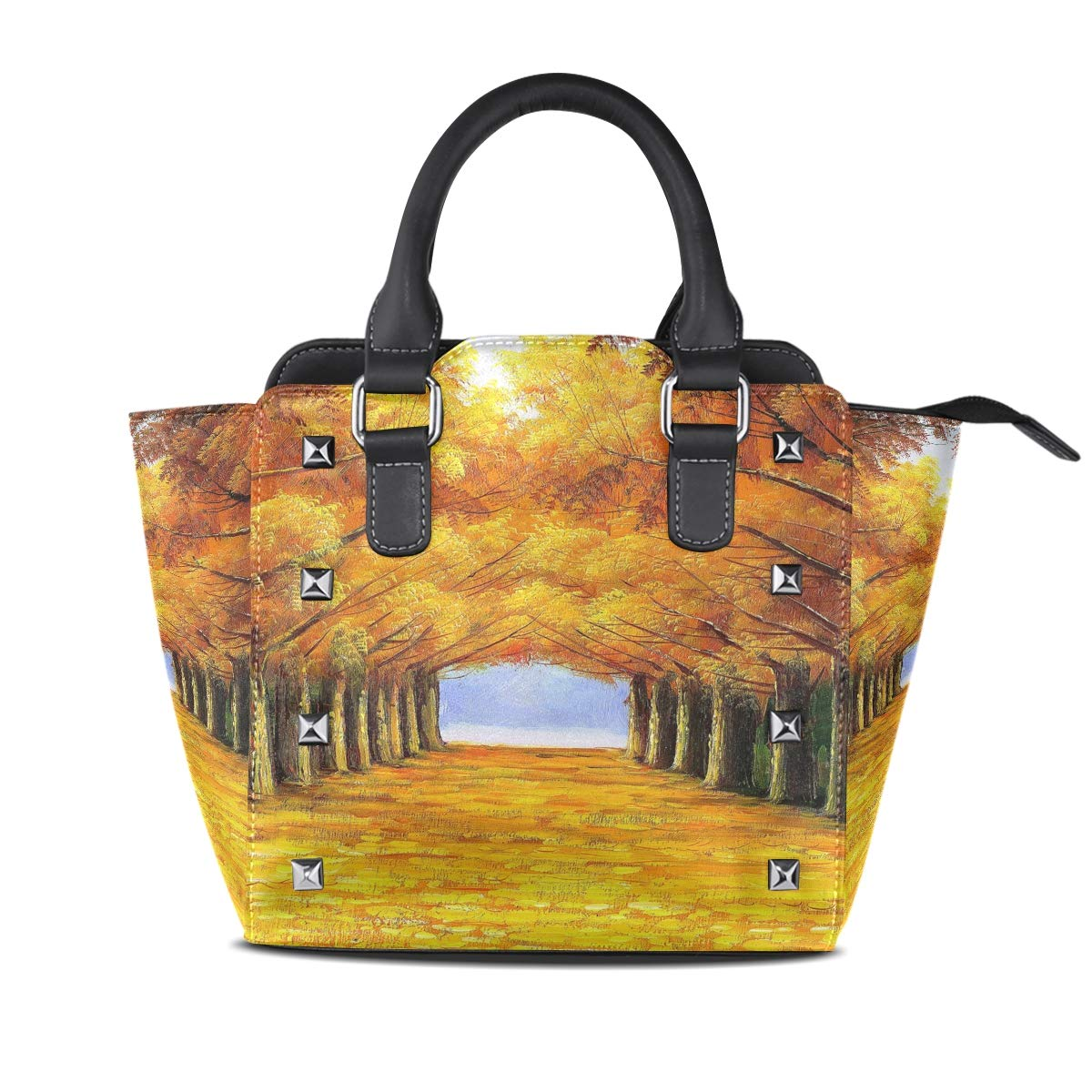 Design1 Autumn Street Top Handle Satchel Handbags Leather Tote Adjustable Shoulder Rivet Bag for Women