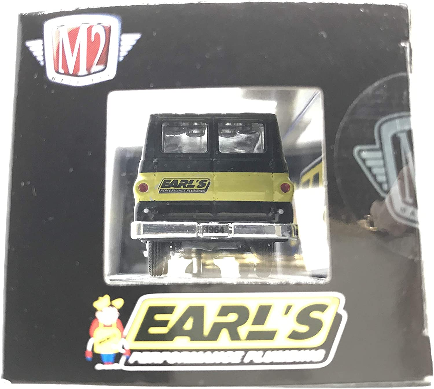 1 of 4875 M2 Machines by M2 Collectible Earls Performance Plumbing 1964 Dodge A100 Vision Van Curbside 1:64 Scale S72 19-64 Black//Yellow Details Like NO Other