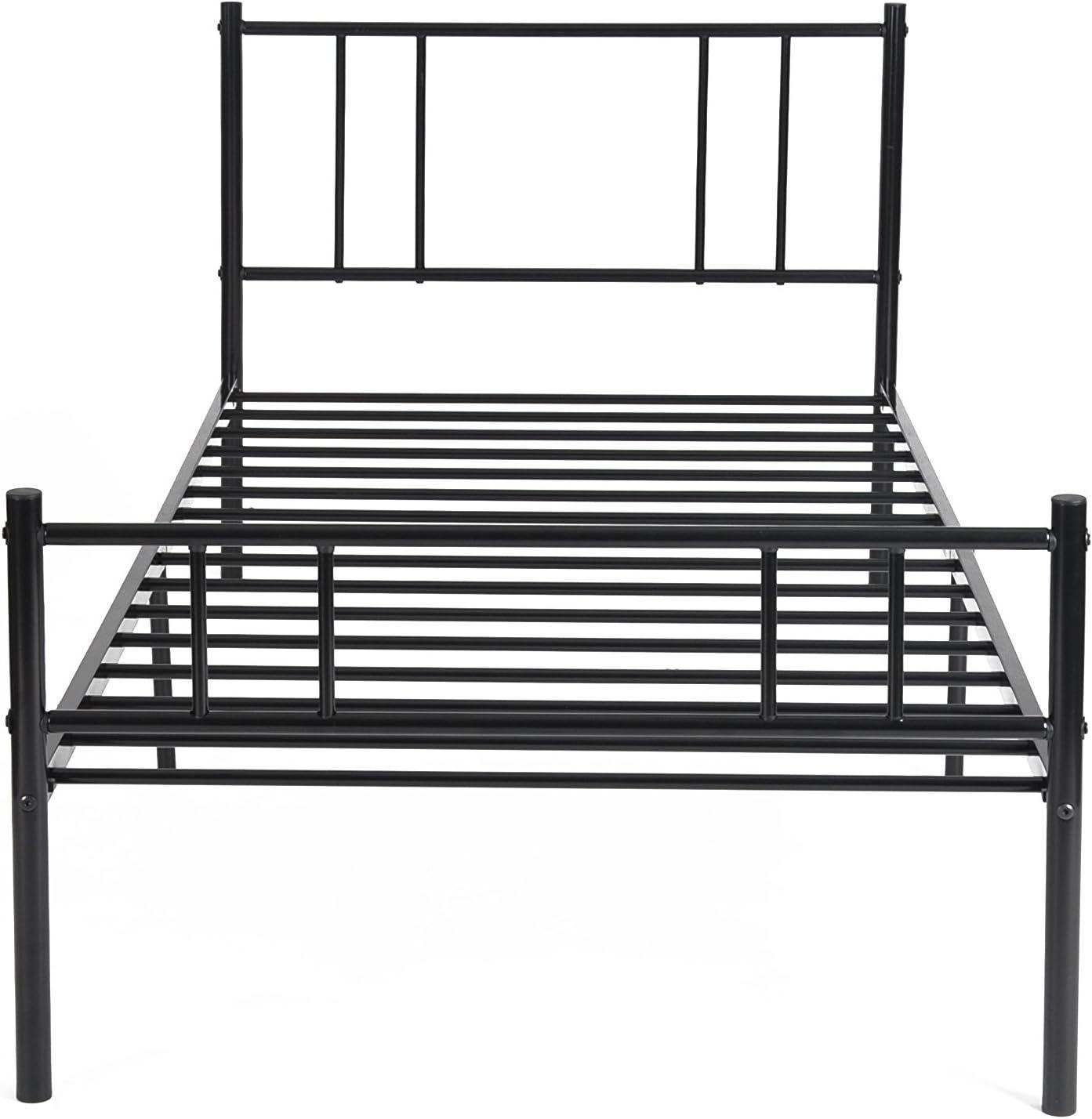 LiePu Lit Simple en M/étal Noir 90 x 190cm Cadre de Lit Int/égr/é avec Sommier /à Lattes pour Enfant Adult Invit/é