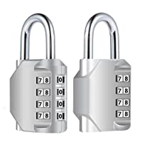Diyife Combination Lock, [2 Pack] 4 Digit Padlock for School Gym Locker, Filing Cabinets, Toolbox, Case,Silver