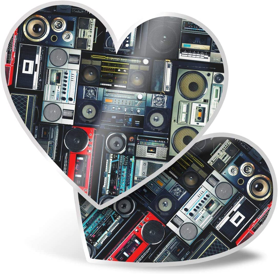 Awesome 2 x Heart Stickers 7.5 cm - Radios Cassette Player Retro Music Fun Decals for Laptops,Tablets,Luggage,Scrap Booking,Fridges,Cool Gift #14242