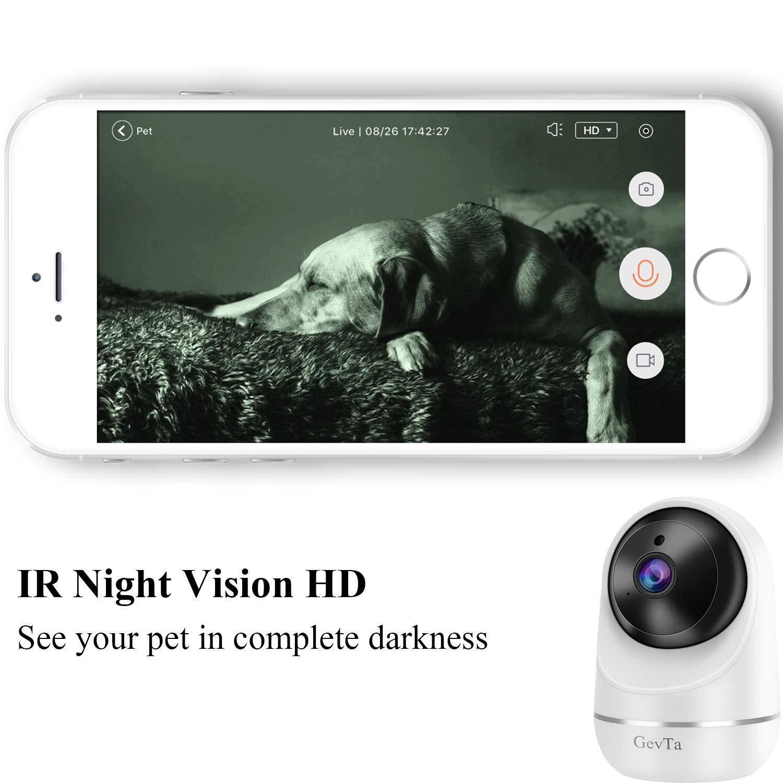 GevTa Pet Camera,FHD Dog Camera WiFi Pet Monitor Indoor Cat Camera Night Vision 2 Way Audio and Motion Detection
