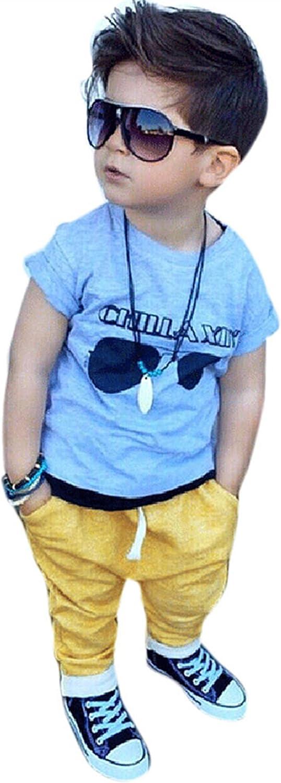 parent-enfa LILICAT B/éb/é gar/çons Manches Courtes Lunettes de Soleil Impression T-Shirt et Pantalons /élastiques Outfit Set Boys Lunettes Lettrage Pants Set LILICAT-Enfants/&/Éq..