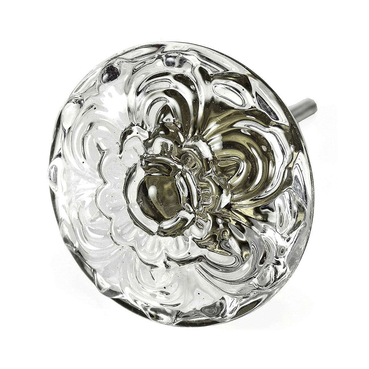 Ornate Cabinet Knobs Glass Vanity Drawer Pulls Dresser Handles Vintage 4 Pack T103VF Large 45mm Clear Embossed Daisy Knob with Antique Brass Base. Romantic Decor & More
