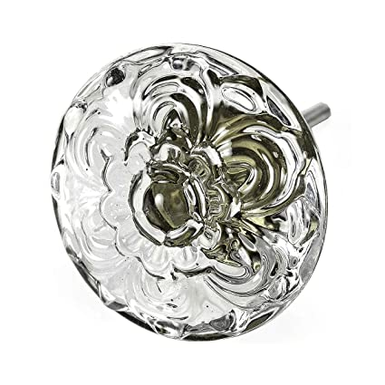 Cabinet Door Knobs, Glass Drawer Pulls And Antique Brass Handle 2 Pack  T38MN Large 45mm