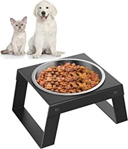 Pawaboo Elevated Dog Bowl, Foldable Stand Stainless Steel Dog Food Water Feeding Bowl, with Non-Slip Silicone Mat Collapsible Pet Bowl, No Spill Raised Pet Bowls for Small Dog and Cat, Black