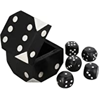 Shalinindia Handcrafted Box and 5 Dice Set Paperweight Puzzles Wooden Toys and Games