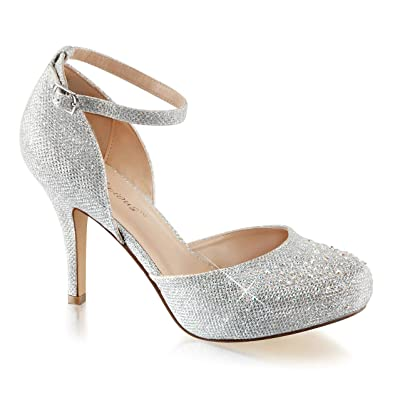 21b1d61cd Summitfashions Womens Silver Glitter Shoes Silver Pumps Ankle Strap  Rhinestone 3 1 2 Inch Heel