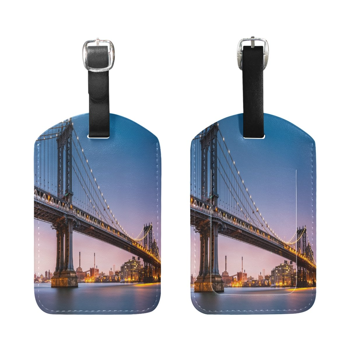 Saobao Travel Luggage Tag Manhattan Bridge Dusk PU Leather Baggage Suitcase Travel ID Bag Tag 1Pcs